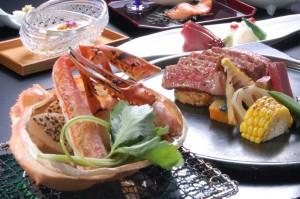 ずわい蟹とステーキ懐石